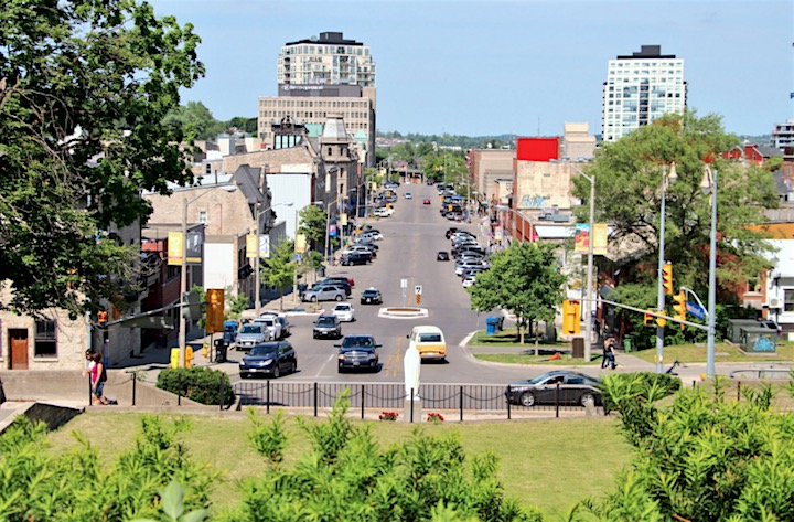 The view of downtown Guelph as seen from the Basilica of Our Lady Immaculate at Norfolk and Macdonell streets.