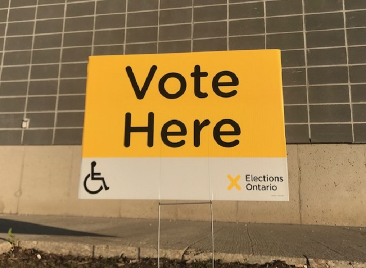 An Elections Ontario voting location sign.
