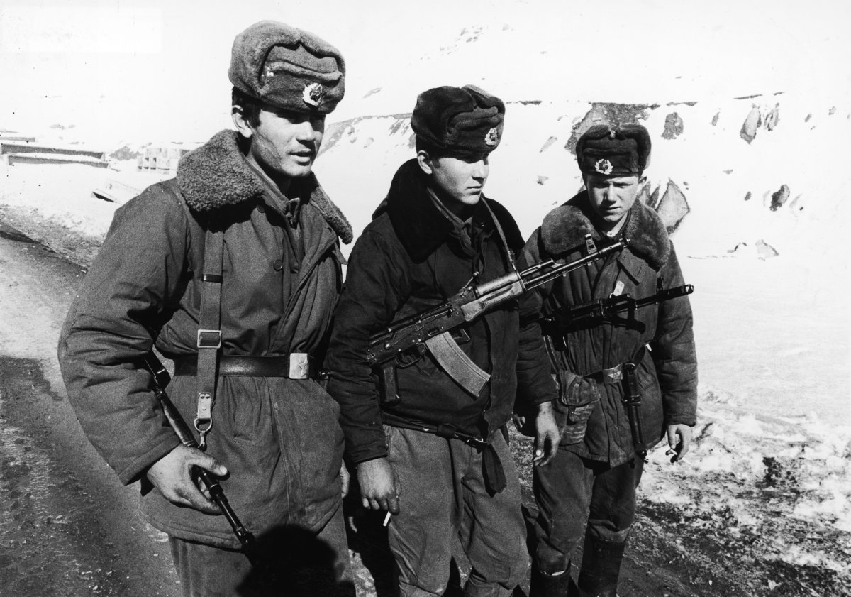 FILE -- 1979, Three armed Soviet Army soldiers serving in the Afghan Civil War.