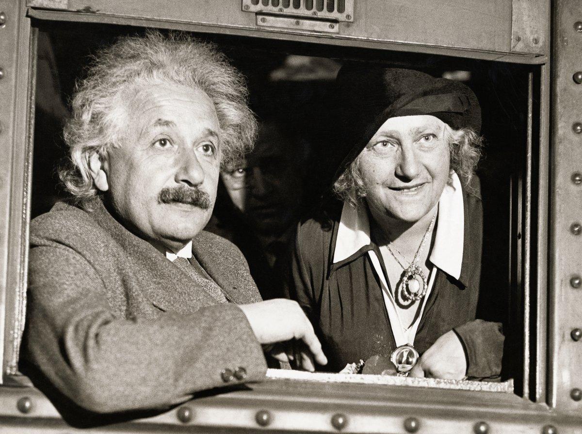 Physicist Albert Einstein (1879-1955) with his wife Elsa in Chicago.