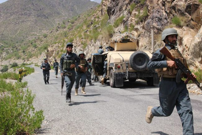 Afghan security force members take part in a military operation in Kunar province, eastern Afghanistan, Aug. 10, 2017.