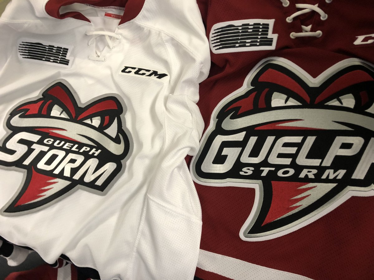 """A Closer look at the newest jerseys with the prominent """"STORM"""" and """"GUELPH"""" for Home and Away respectively."""