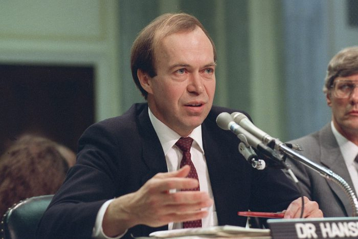 In this May 9, 1989 file photo, Dr. James Hansen, director of NASA's Goddard Institute for Space Studies in New York, testifies before a Senate Transportation subcommittee on Capitol Hill in Washington, D.C.