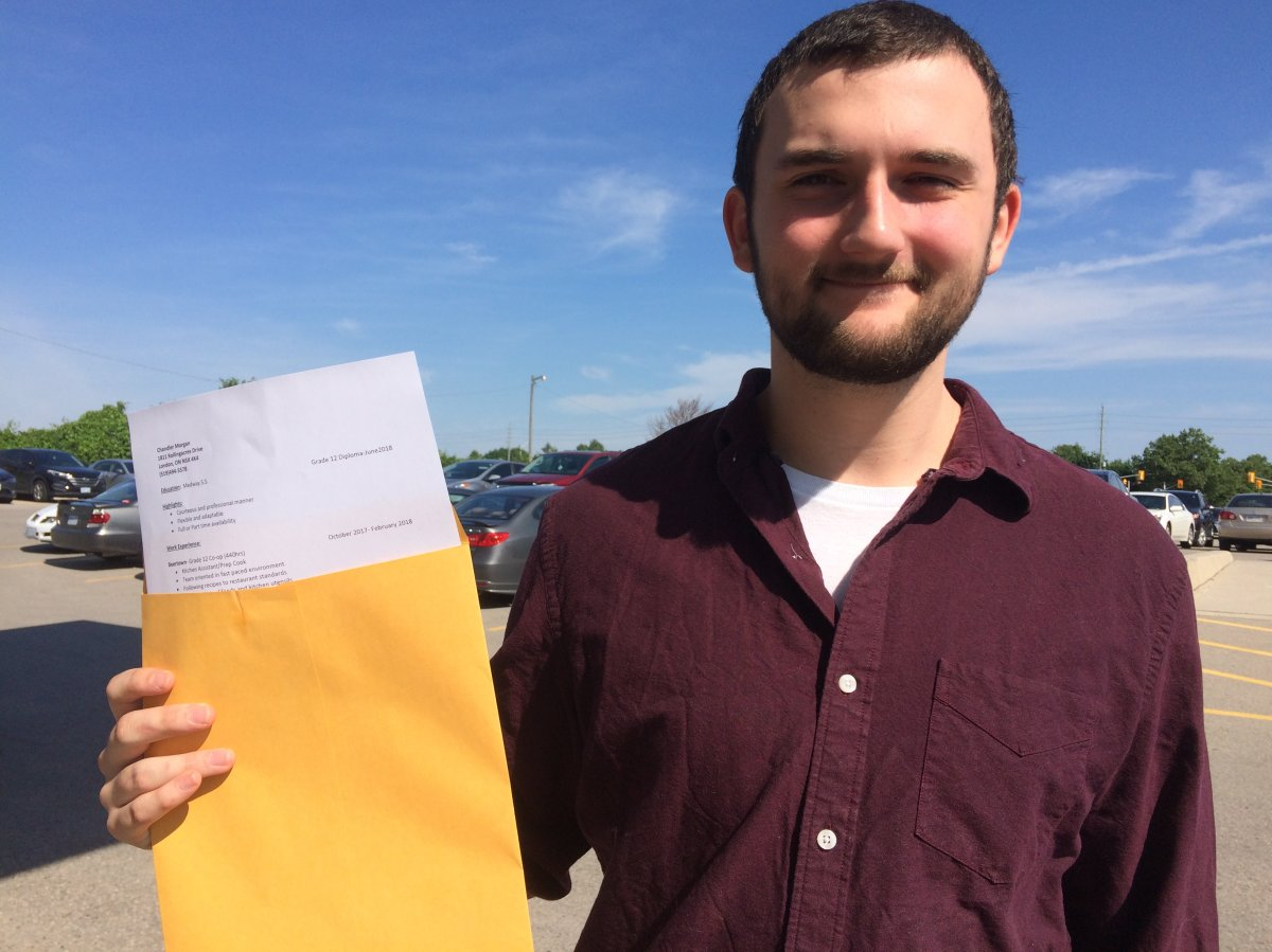 Chandler Morgan is among the applicants looking to score a position at a job fair for London's Nestle plant on June 21, 2018.