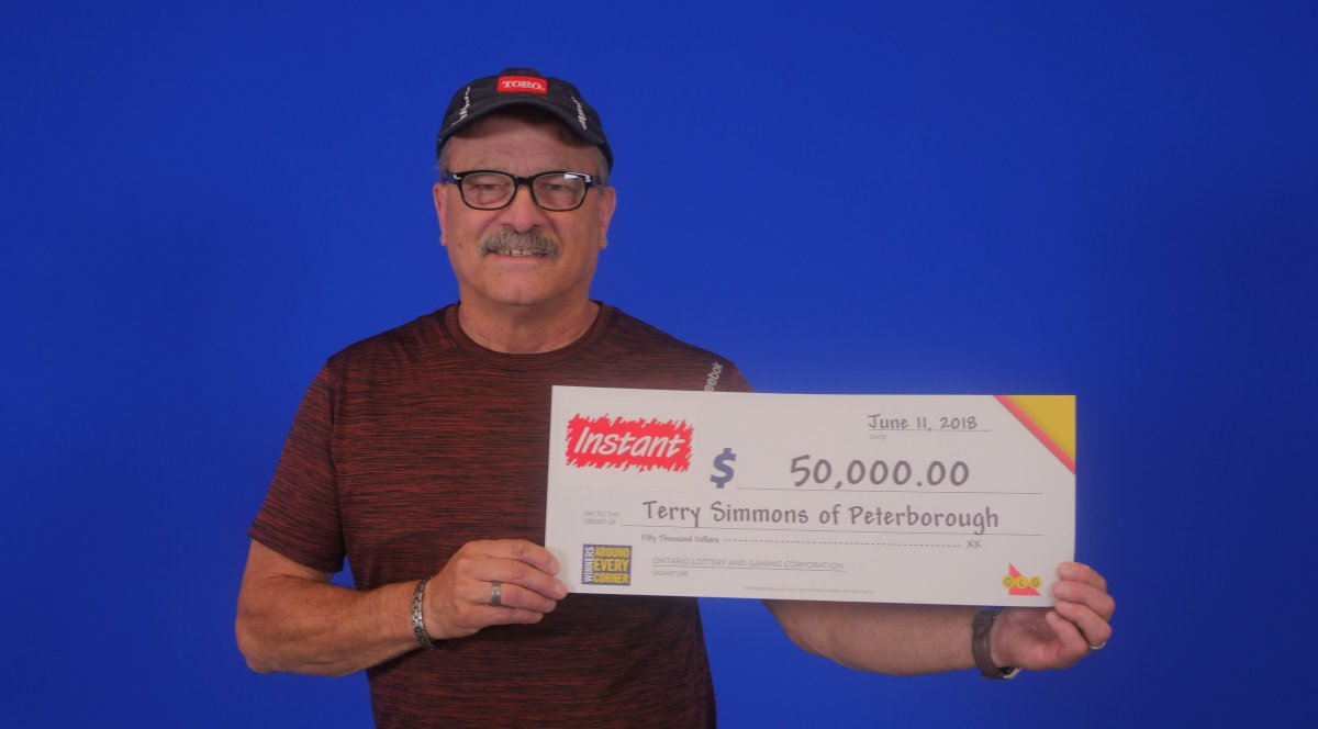 Terry Simmons of Peterborough claimed $50,000 in a scratch ticket.
