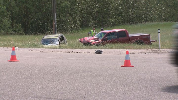 A 56-year-old woman was killed in a two-vehicle crash on Highway 16 west of Edmonton Thursday, June 28. 2018.