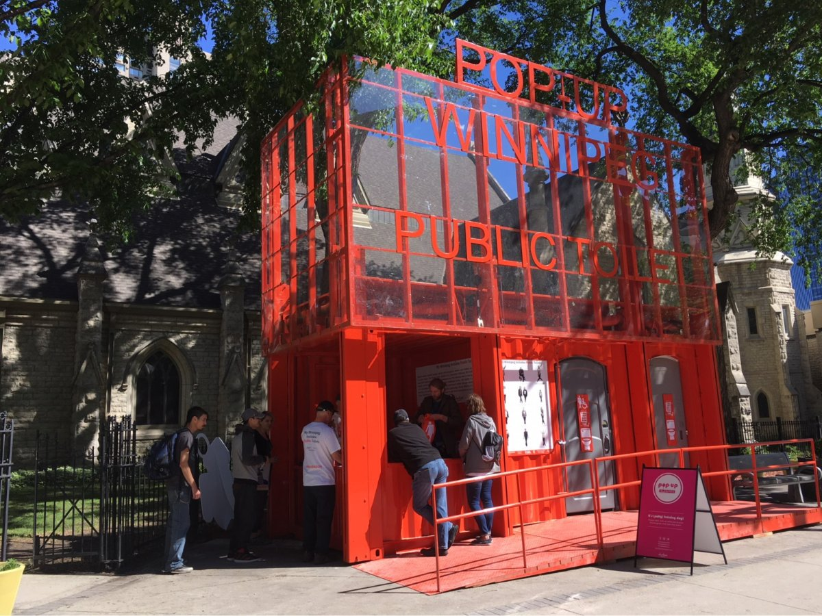 Pop-up toilets popped up outside Holy Trinity Church in Downtown Winnipeg Monday.
