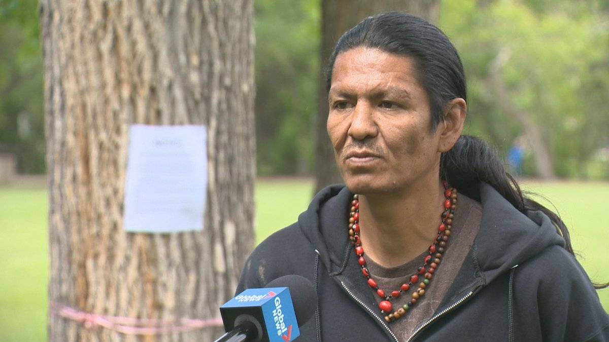 Prescott Demas says he has no intention of leaving the protest camp despite the eviction notice behind him.