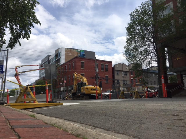 Construction is underway in Fredericton at the intersection of Queen Street and Regent Street,.