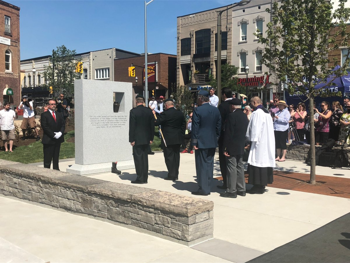 The sacred soil, removed from the battlefield at Vimy Ridge is now encased in the monument at Memorial Square in Barrie.
