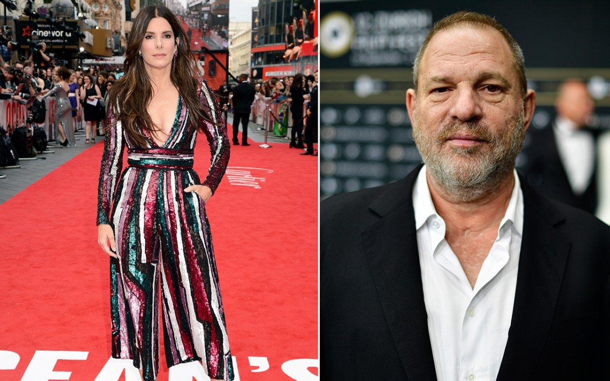 (L-R): Sandra Bullock and Harvey Weinstein.