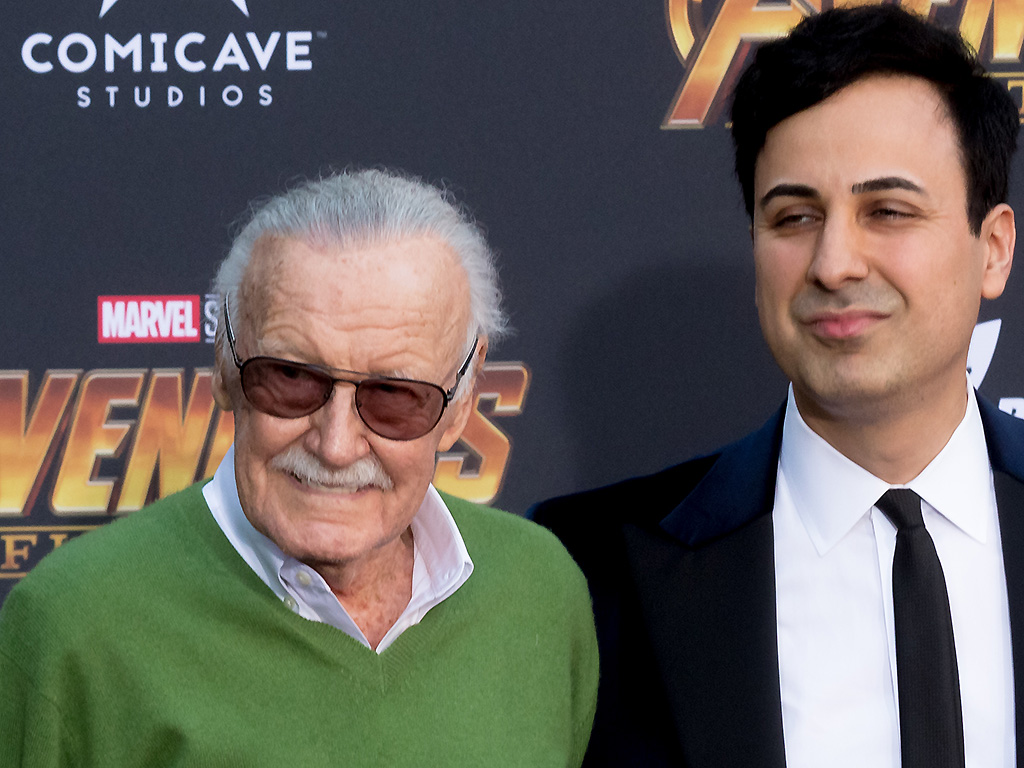 Stan Lee and Keya Morgan attend the 'Avengers: Infinity War' World Premiere on April 23, 2018 in Los Angeles, Calif.
