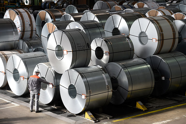 Steel rolls are pictured at the plant of German steel company Salzgitter AG in Salzgitter, Lower Saxony on March 3, 2016.