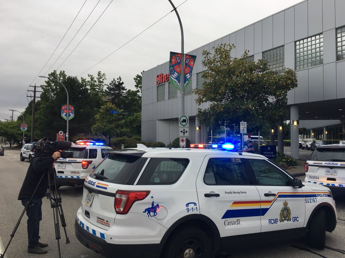 Surrey RCMP on scene outside the Sheraton Vancouver Guildford Hotel.