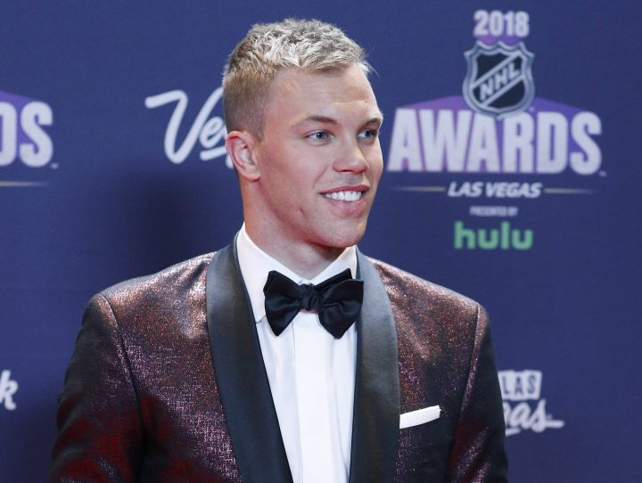 New Jersey Devils' Taylor Hall poses on the red carpet before the NHL Awards, Wednesday, June 20, 2018, in Las Vegas.