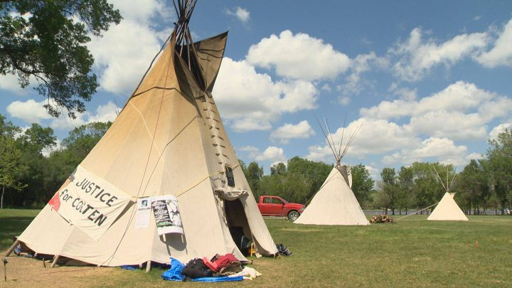 Three of the teepees now standing in Wascana Park as part of the Justice for our Stolen Children camp.