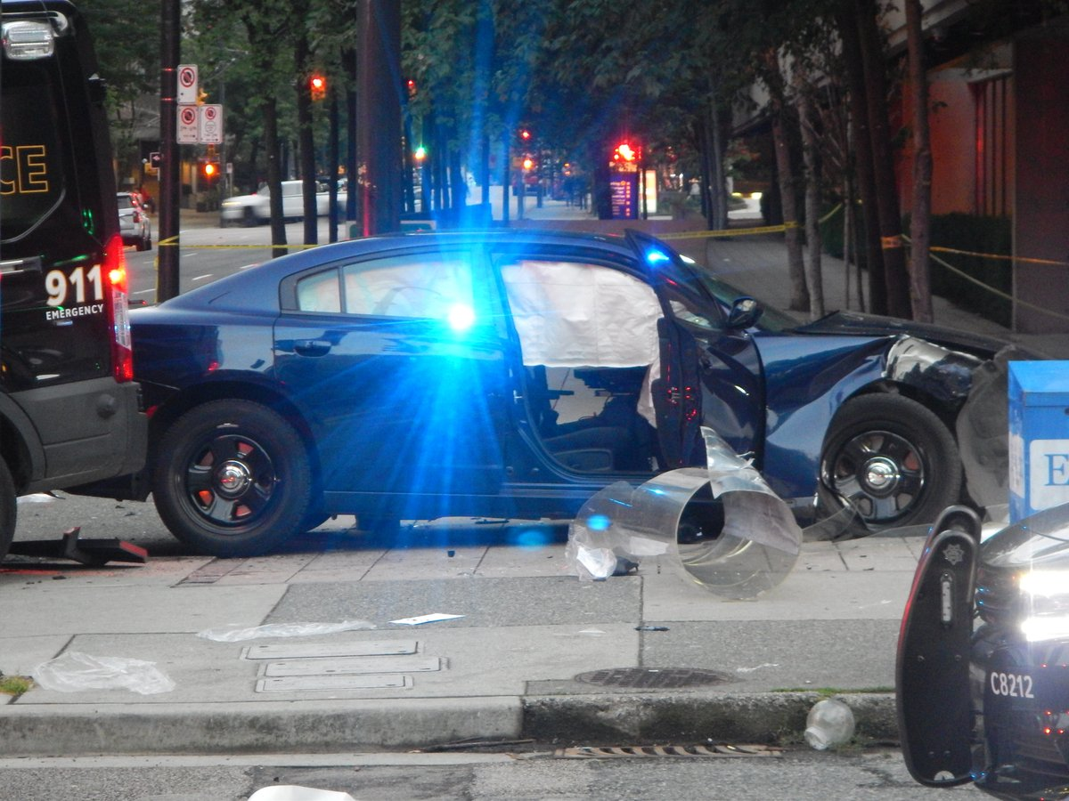 The scene of a collision between two VPD vehicles on Friday, June 29.