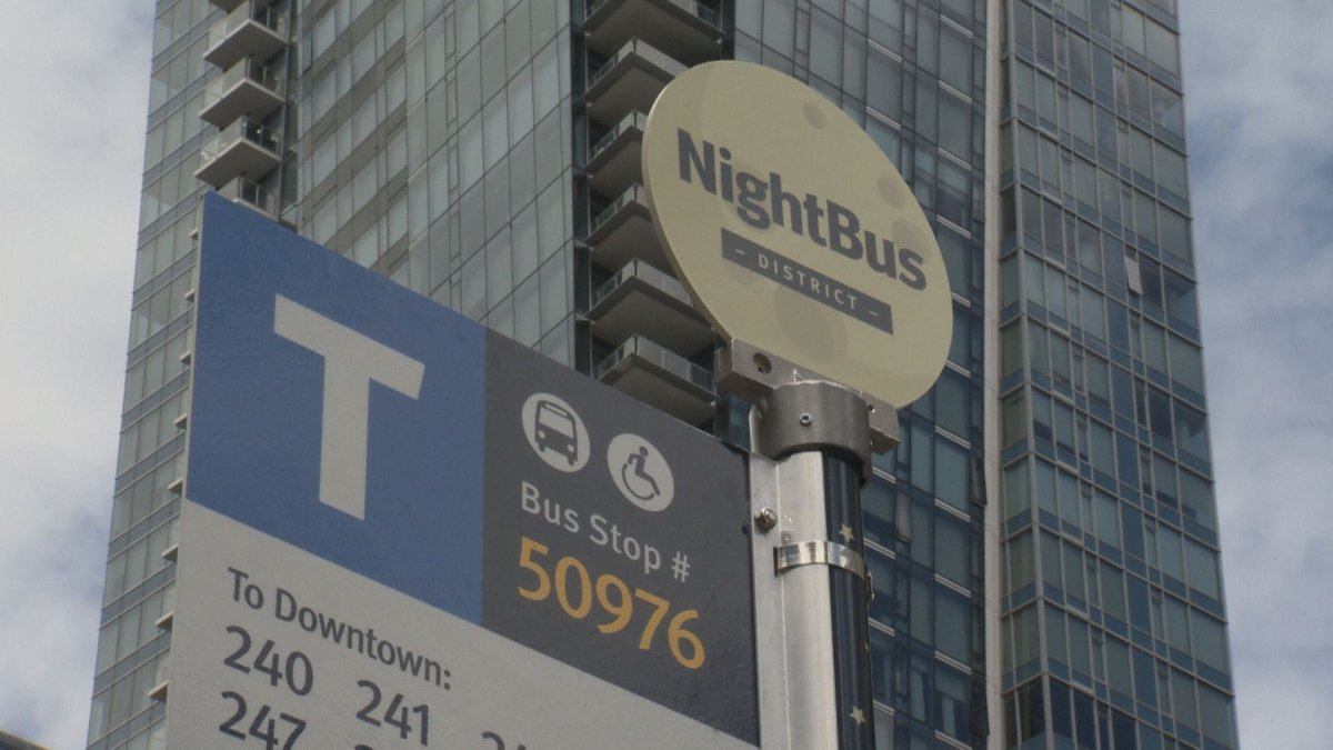 Look for the new night bus signs on existing transit bus stops.