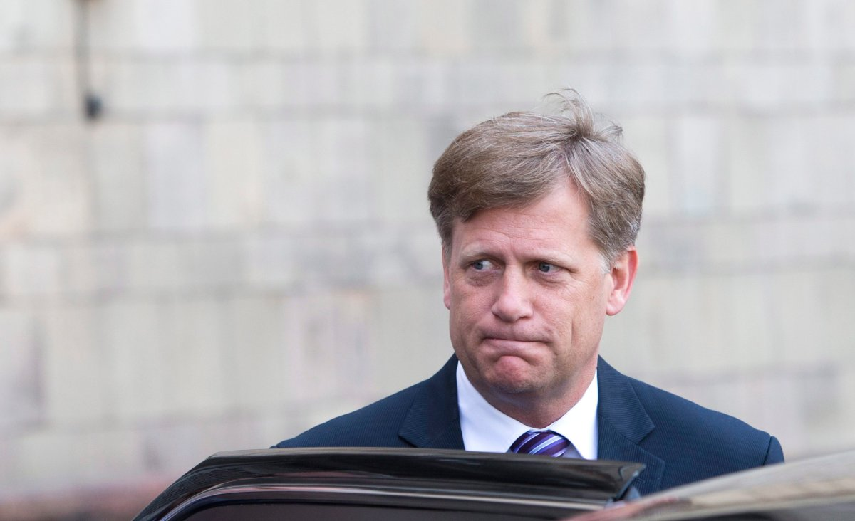 The ex-U.S. Ambassador to Russia Michael McFaul leaves Foreign Ministry headquarters in Moscow, Russia, Wednesday, May 15, 2013. McFaul  has been summoned by the Russian foreign ministry in connection with an alleged spy detention in Moscow. He entered the ministry's building in central Moscow Wednesday morning and left half an hour later without saying a word to journalists waiting outside the compound.