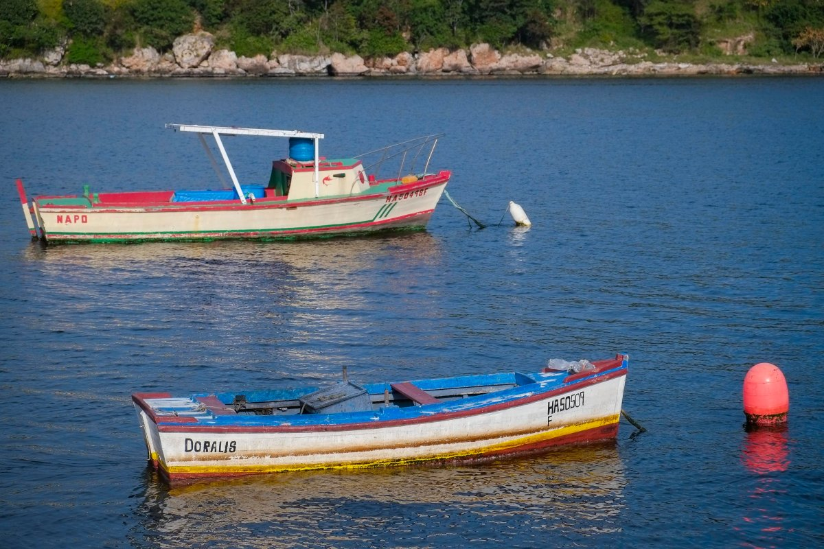 Small boats float in Cuba (not involved in the accident.).