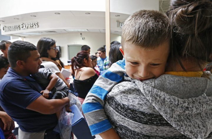 Migrant families are photographed in McAllen, Texas, in this file photo.