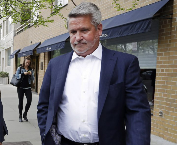 In this April 24, 2017, file photo, then-Fox News co-president Bill Shine, leaves a New York restaurant.
