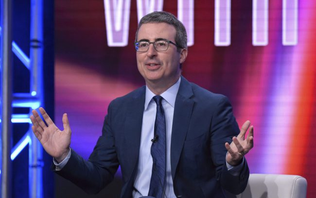 "John Oliver speaks during the ""Last Week Tonight with John Oliver"" panel during the HBO Television Critics Association Summer Press Tour at The Beverly Hilton hotel, July 25, 2018, in Beverly Hills, Calif."