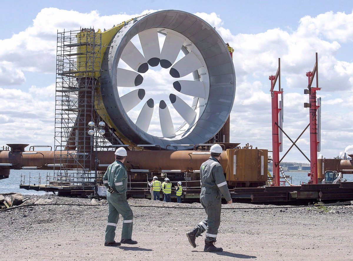 A turbine for the Cape Sharp Tidal project is seen at the Pictou Shipyard in Pictou, N.S. on Thursday, May 19, 2016.