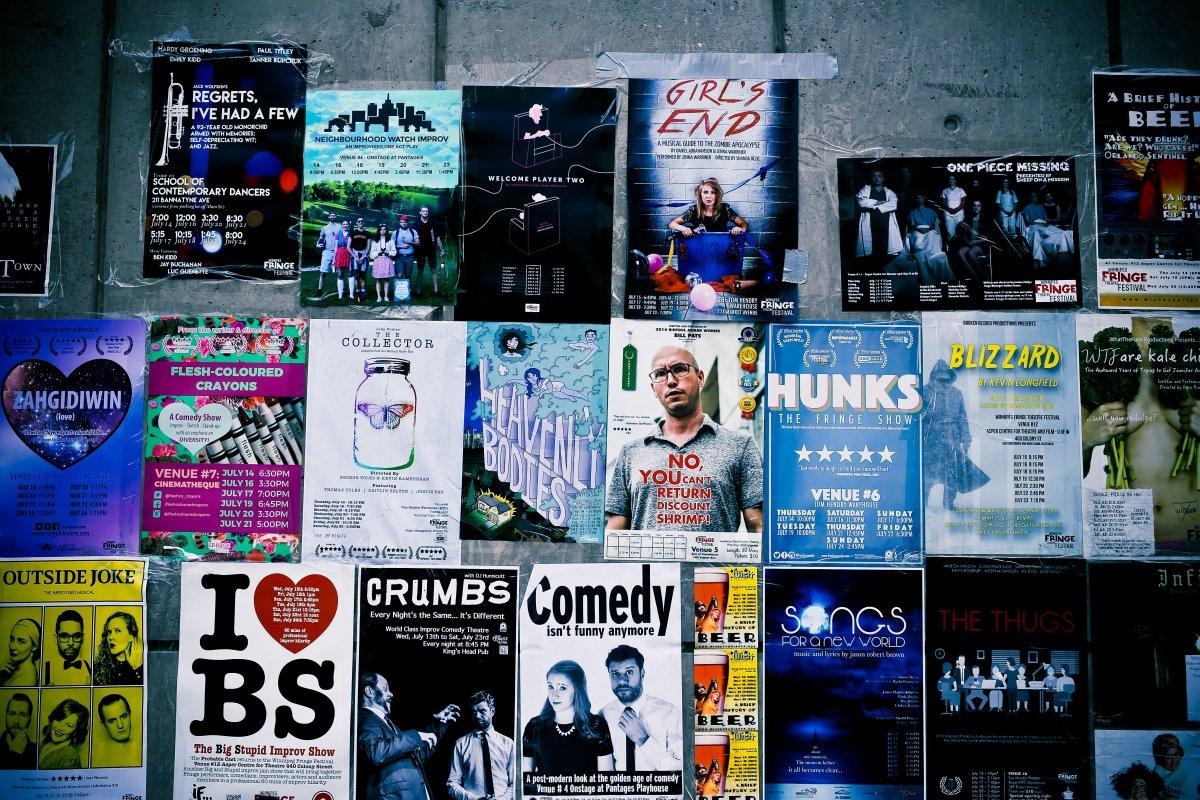 Posters for Winnipeg Fringe Festival plays.