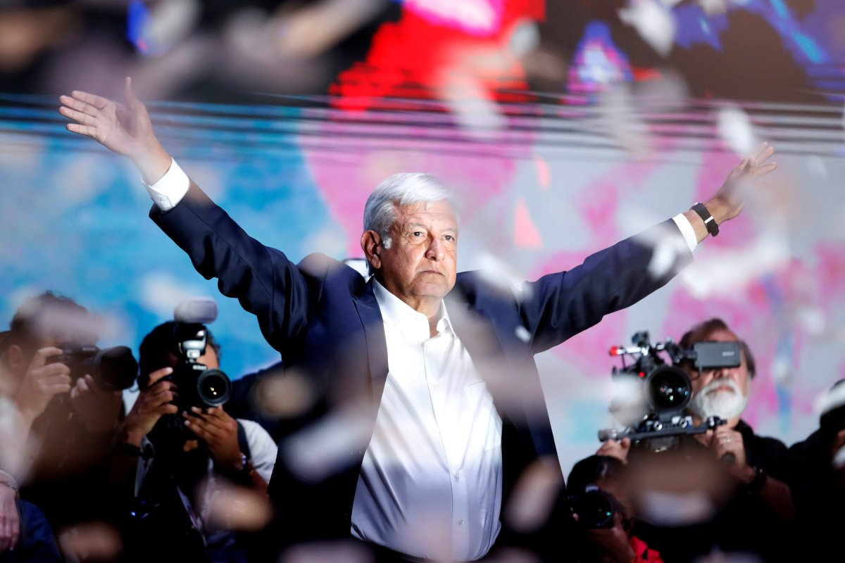 Presidential candidate Andres Manuel Lopez Obrador gestures as he addresses supporters after polls closed in the presidential election, in Mexico City, Mexico July 2, 2018.