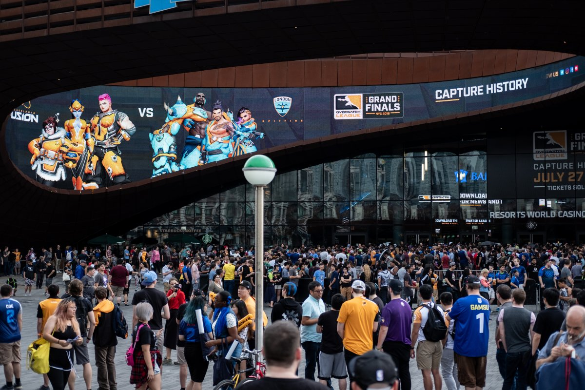 Fans gather outside the Barclays Centre Friday before the kickoff of the inaugural grand finals of the Overwatch League.