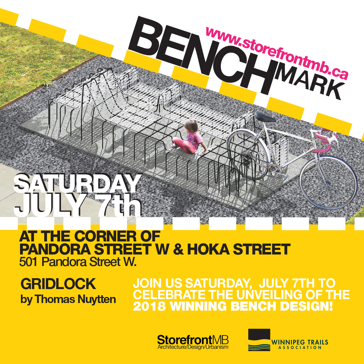"""Presented by Storefront Manitoba and the Winnipeg Trails Association, the """"Benchmark"""" trails-based placemaking and design competition launched in December 2017 and will offer Winnipeggers a place to rest and enjoy our growing trail network. This is the second year of the competition and will result in a permanent bench installation that will challenge the idea of the 'common' bench and become a local landmark. This year's winning entry is titled GRIDLOCK, a concept that references the 'weaving' relationship between the bicycle and the car. """"Tension between car and bicycle arise as each commuter tries to coexist throughout the streets of Winnipeg. The driver, stuck in the traffic logged, orthogonal grid of streets and avenues watches while the cyclist is free to weave through and beyond to the ever-growing network of bike lanes and trails. Gridlock is a representation of how these conflicting entities, which battle for the same space, can overlap and intertwine to create a harmonious existence."""" - Thomas Nuytten, Designer of GRIDLOCK 2018 WINNING BENCHMARK DESIGN HIGHLIGHTS GROWING TRAIL NETWORK """"Gridlock"""" Design Works to Improve Relationship Between Bikes and Cars """"Transcona is excited to be the host community for the BENCHmark project this year. Being selected for this unique initiative acknowledges the hard work of the community over the past years, in developing a robust trail network; and recognizes the positive impact the BIZ's recent public art initiatives have made towards transforming the BIZ Zone into an open air public art gallery. The addition of the benches along our Pandora Pathway will further activate community, add more value to our trails, and become a beacon for our member businesses."""" - Alex Morrison, Executive Director, Transcona BIZ Placemaking is an important aspect of transportation, recreation and city building. A design competition to spur creative placemaking ideas is an opportunity to permanently and continually raise awareness of the beau"""