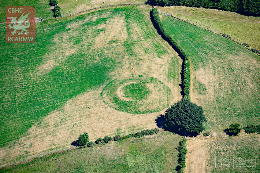 The outline of Wales' Castell Llwyn Gwinau, dating back to medieval times.