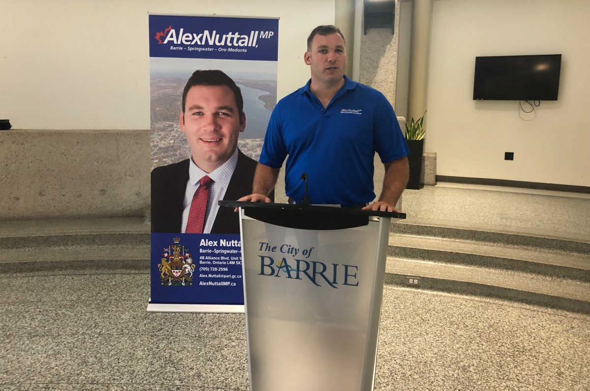 Barrie-Springwater-Oro Medonte MP Alex Nuttall (above) makes a Canada Summer Jobs Program announcement at Barrie City Hall on July 16.