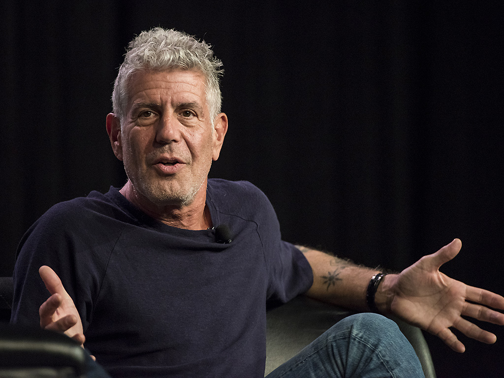 Anthony Bourdain speaks during the SXSW Interactive Festival at the Austin Convention Center in Austin, Texas, U.S., on Sunday, March 13, 2016.