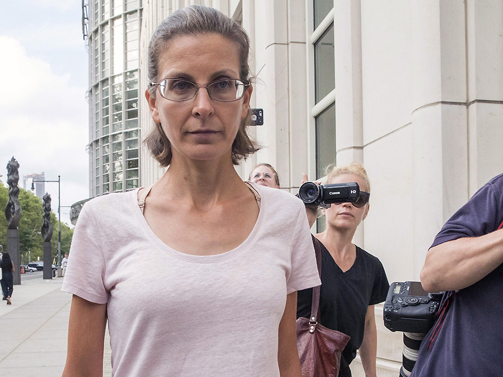 Clare Bronfman leaves federal court on July 24, 2018, in Brooklyn, New York.