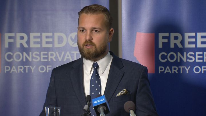 Derek Fildebrandt launches the new Freedom Conservative Party Friday on July 20, 2018.