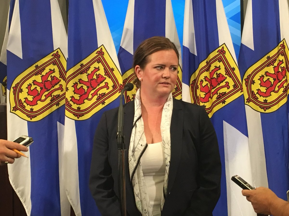 Jennifer Angel, CEO of Develop Nova Scotia speaks to media on July 12, 2018.