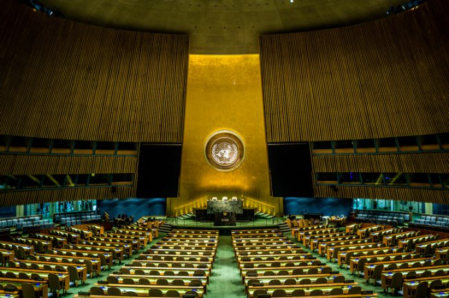 The empty chamber of the General Assembly at the United Nations.