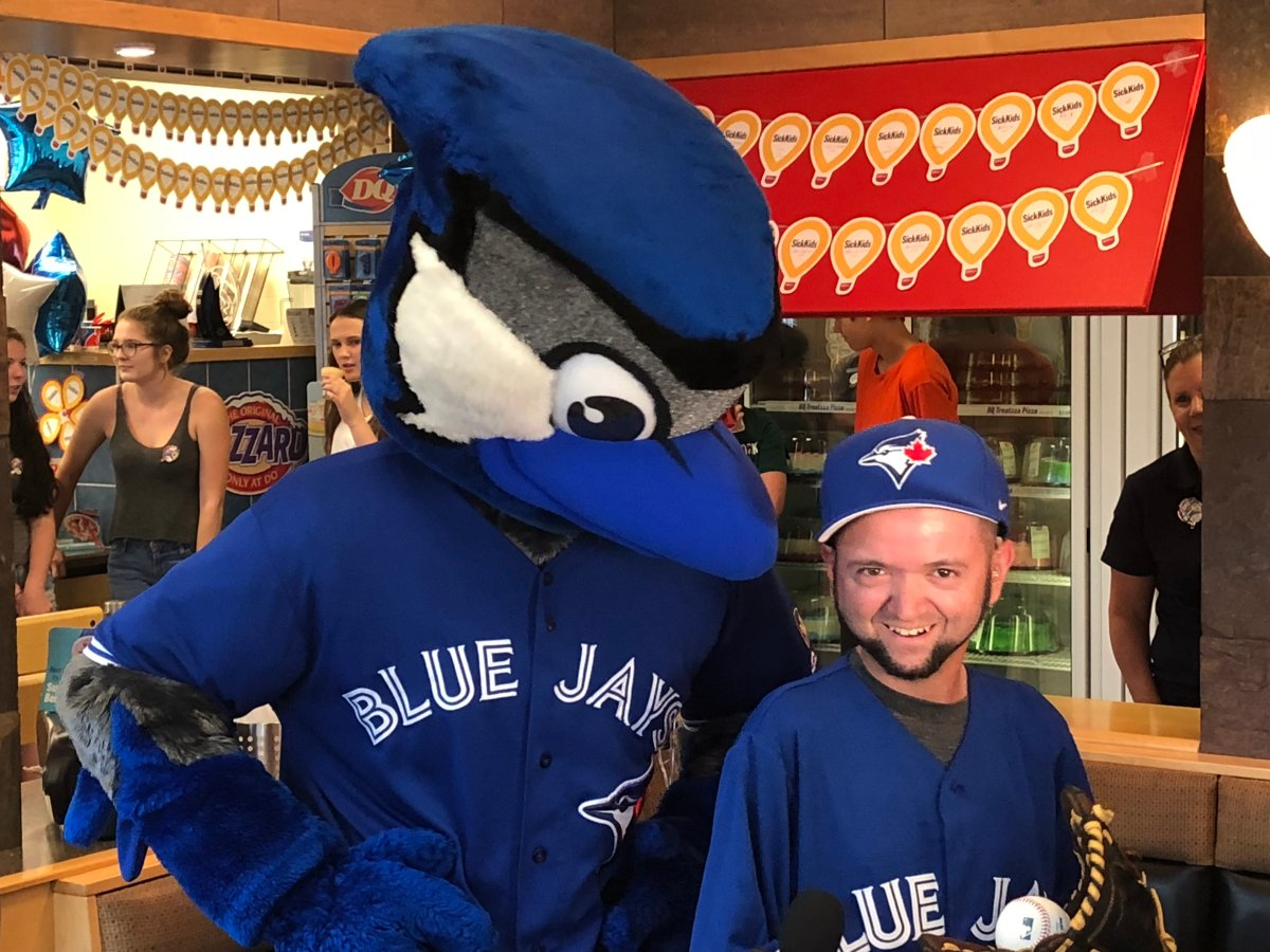 Raymond Hardisty is scheduled to throw the first pitch at the Blue Jays game August 8.