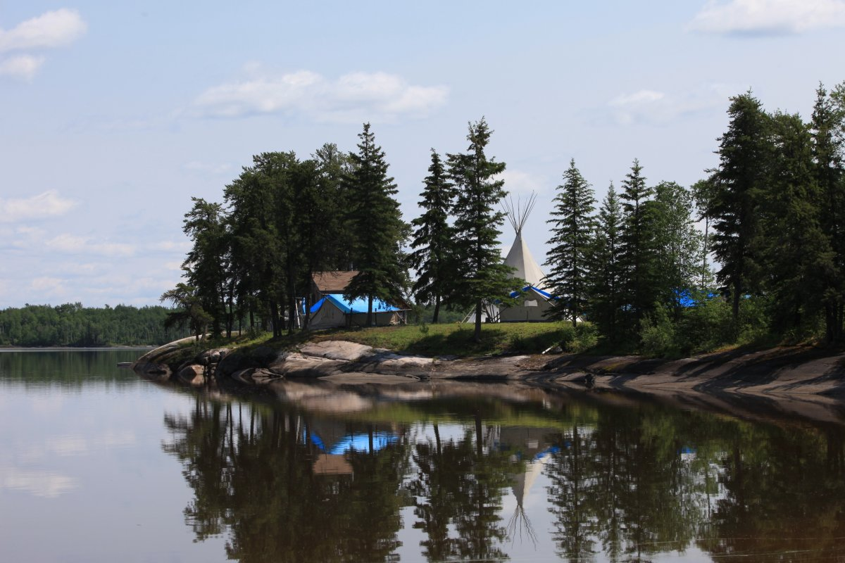 A community camp in the Pimachiowin Aki boreal forest region.