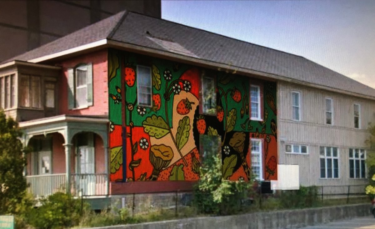 Artist rendition of a new mural to be painted on the YES building in downtown Peterborough.