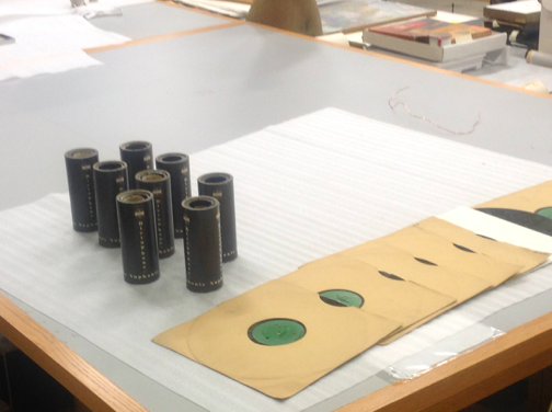 the wax cylinders and aluminium records found in Vault 54 at museum of London in 2014.