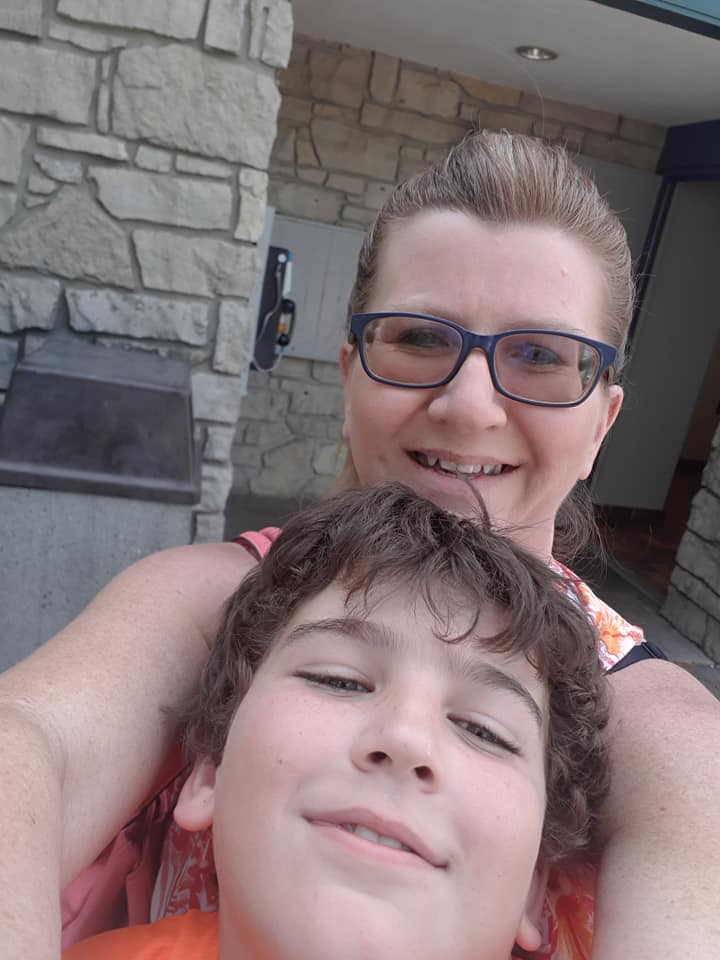 Joanne Beckett and her eight-year-old son Zak.