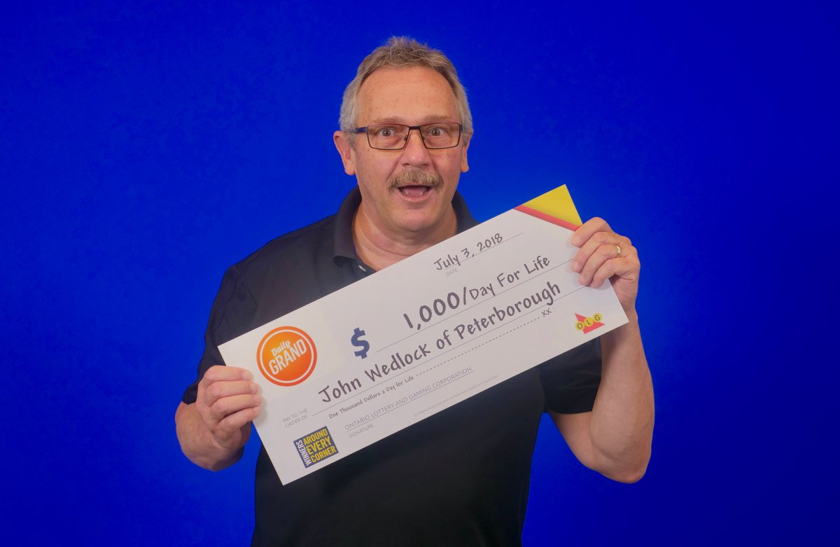 John Wedlock of Peterborough won the $1,000 a day for life grand prize in the June 28th Daily Grand draw.