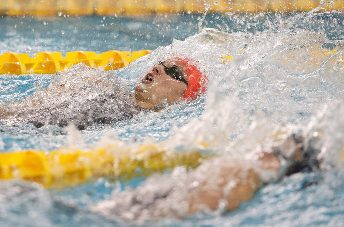 Kylie Masse wins the 100 meter backstroke during the 2018 Team Canada finals in Edmonton on Thursday, July 19, 2018.