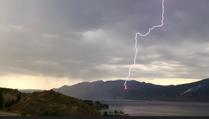 Lightning strikes in the Okanagan in the summer of 2018. The BC Wildfire Service says it has been called to multiple new wildfires in the province's northwest that are believed to have been sparked by lightning strikes.