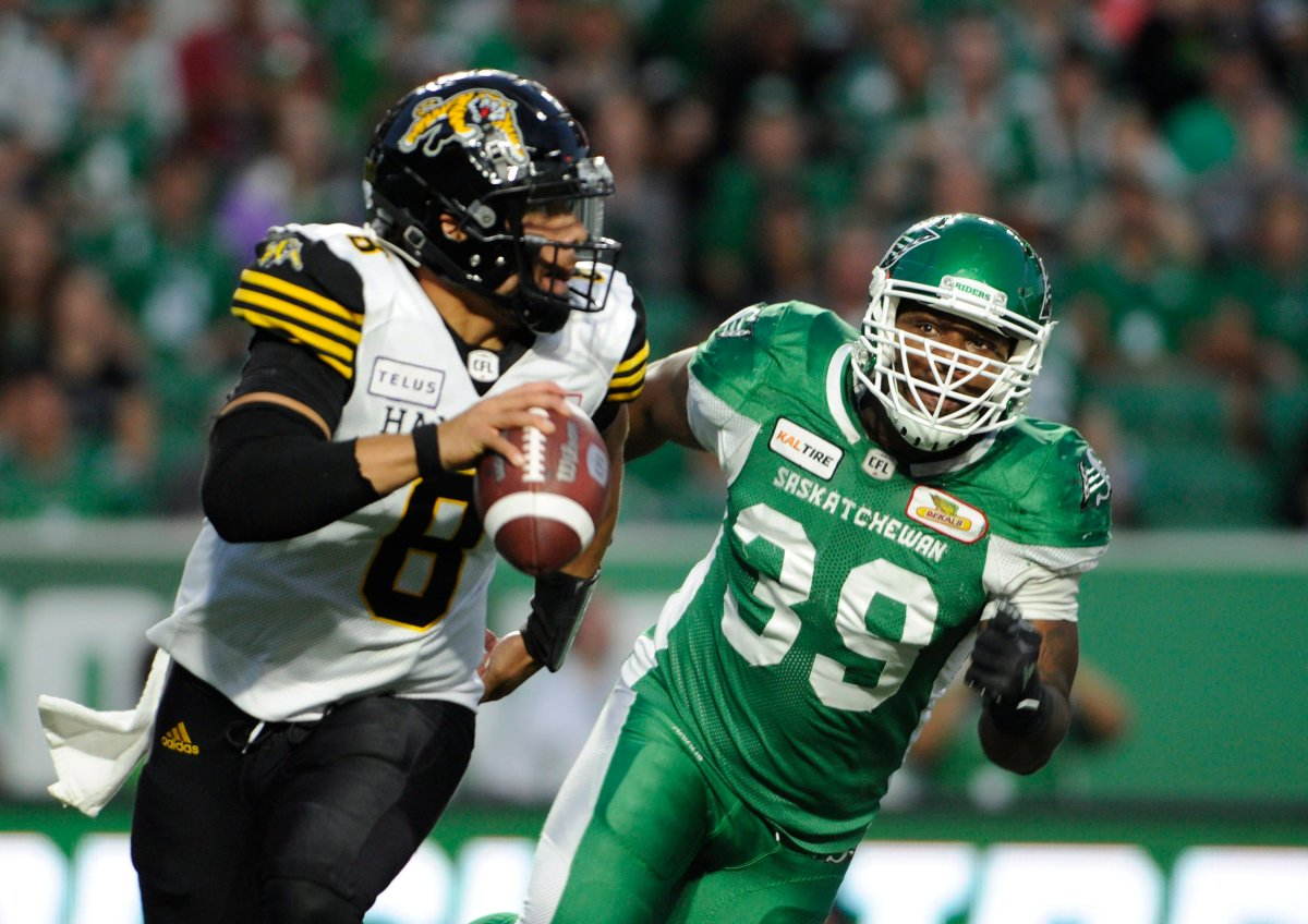 Tiger-Cats drop the ball in 18-13 loss against Roughriders | Globalnews.ca
