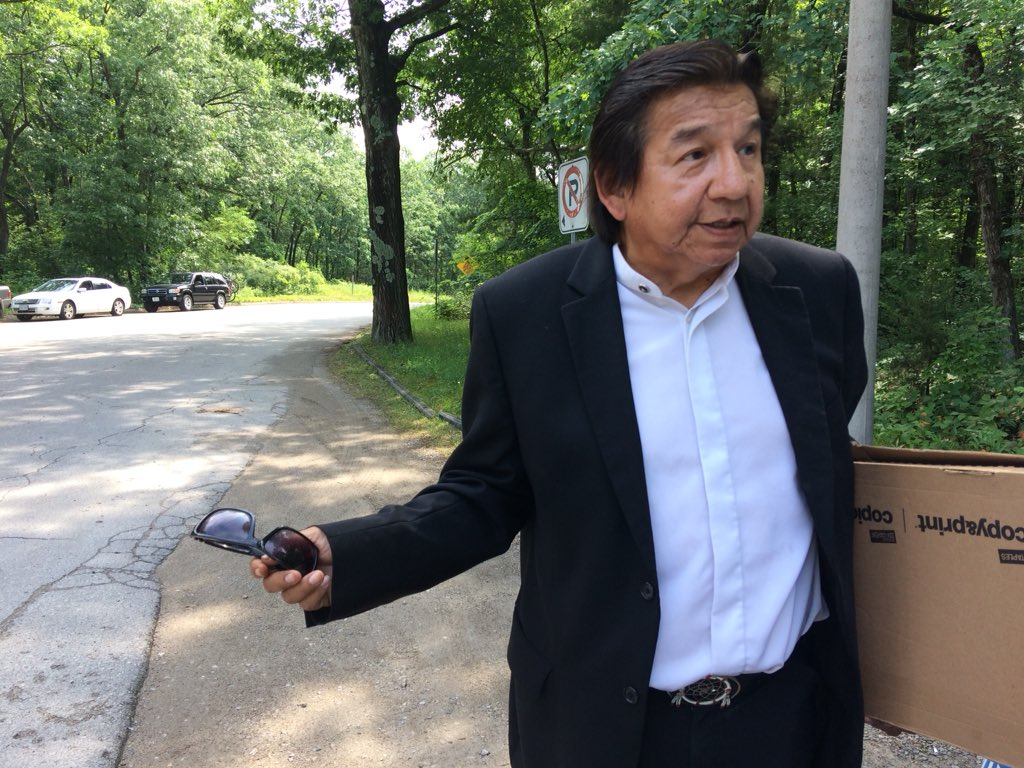 Maynard T. George addressed media just outside the Pinery Provincial Park gates Monday morning.