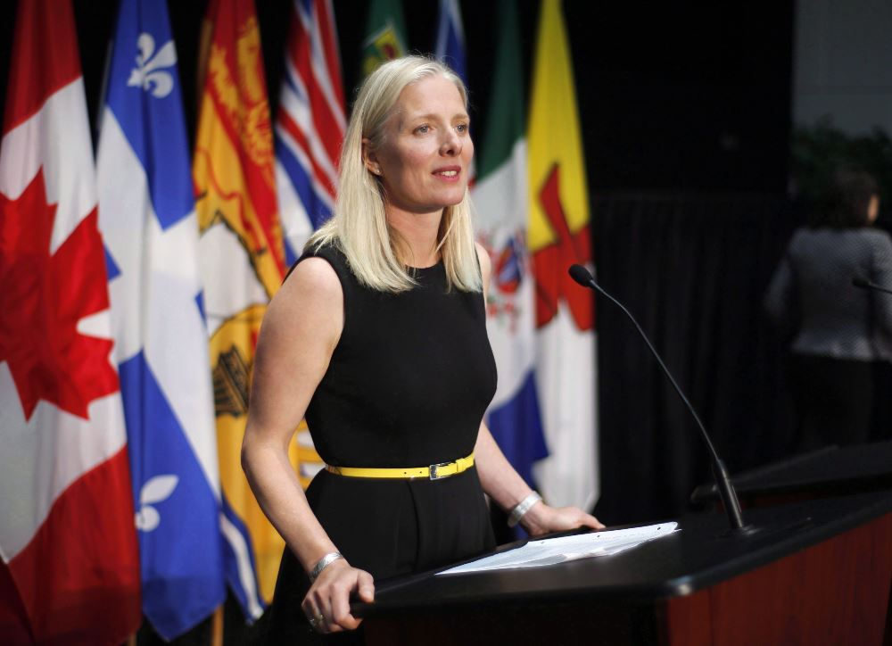 Minister of Environment and Climate Change Catherine McKenna speaks at a press conference in Ottawa on June 28, 2018.